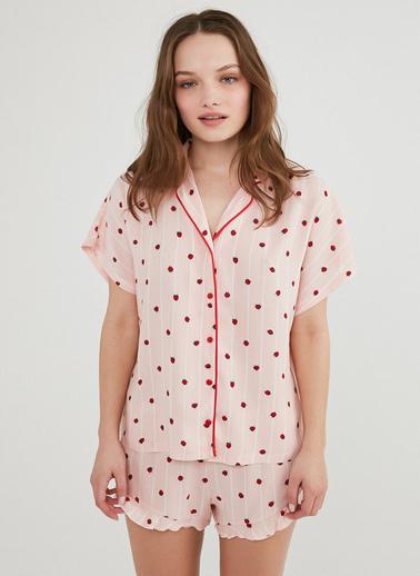 Penti Kadın Pembe Berries And Stripe Gömlek Şort Pijama Takım PNRX6VLV21IY Pembe